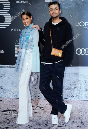 Stock Picture of German TV presenter Rabea Schif (L) poses with German actor Langston Uibel (R) on the 'black carpet' of the 'Place to B' party during the 69th annual Berlin Film Festival, in Berlin, Germany, 09 February 2019. The party of German tabloid newspaper BILD under the motto 'Space Night' took place during the Berlinale that runs from 07 to 17 February 2019.