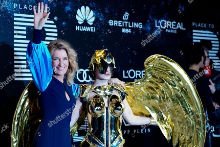 Stock Image of Maria Furtwaengler (L) poses on the 'black carpet' of the 'Place to B' party during the 69th annual Berlin Film Festival, in Berlin, Germany, 09 February 2019. The party of German tabloid newspaper BILD under the motto 'Space Night' took place during the Berlinale that runs from 07 to 17 February 2019.