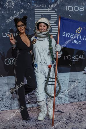 German entrerpeneur and TV presenter Verona Pooth (L) poses on the 'black carpet' of the 'Place to B' party during the 69th annual Berlin Film Festival, in Berlin, Germany, 09 February 2019. The party of German tabloid newspaper BILD under the motto 'Space Night' took place during the Berlinale that runs from 07 to 17 February 2019.