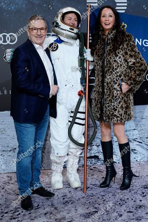 German TV news anchorman Jan Hofer (L) poses with his partner Phong Lan Truong (R) on the 'black carpet' of the 'Place to B' party during the 69th annual Berlin Film Festival, in Berlin, Germany, 09 February 2019. The party of German tabloid newspaper BILD under the motto 'Space Night' took place during the Berlinale that runs from 07 to 17 February 2019.