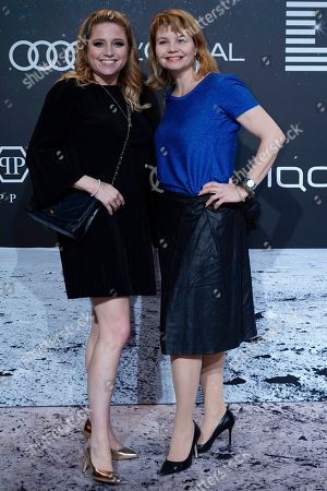 Annette Frier (R) and her sister, German actress Caroline Frier (L) pose on the 'black carpet' of the 'Place to B' party during the 69th annual Berlin Film Festival, in Berlin, Germany, 09 February 2019. The party of German tabloid newspaper BILD under the motto 'Space Night' took place during the Berlinale that runs from 07 to 17 February 2019.