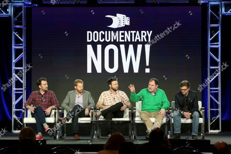 "Rhys Thomas, Alex Buono, Taran Killam, Richard Kind, James Urbaniak. Rhys Thomas, from left, Alex Buono, Taran Killam, Richard Kind and James Urbaniak participate in the ""Documentary Now!"" panel during the IFC presentation at the Television Critics Association Winter Press Tour at The Langham Huntington, in Pasadena, Calif"
