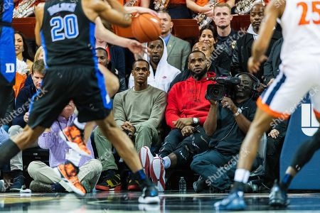 Lebron James and Rajon Rondo during the NCAA College Basketball game between the Duke Blue Devils and the Virginia Cavaliers at John Paul Jones Arena on in Charlottesville, VA