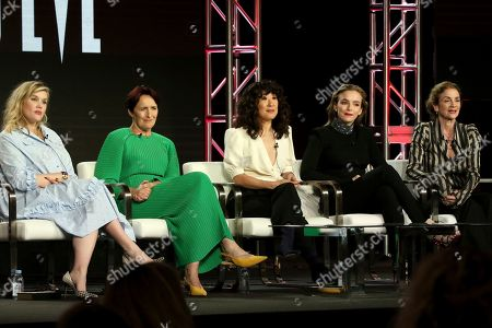 """Stock Image of Emerald Fennel, Fiona Shaw, Sandra Oh, Jodie Comer, Sally Woodward Gentle. Emerald Fennel, from left, Fiona Shaw, Sandra Oh, Jodie Comer and Sally Woodward Gentle participate in the """"Killing Eve"""" panel during the BBC America presentation at the Television Critics Association Winter Press Tour at The Langham Huntington, in Pasadena, Calif"""