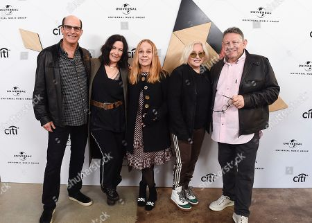 Bruce Resnikoff, Kathy Valentine, Gina Schock, Charlotte Caffey, Sir Lucian Grainge. Bruce Resnikoff, President & CEO of Universal Music Enterprises, from left, Kathy Valentine, Gina Schock, Charlotte Caffey, members of The Go-Go's, and Sir Lucian Grainge, Chairman & CEO of Universal Music Group, attend Sir Lucian Grainge's 2019 Artist Showcase Presented by Citi on in Los Angeles