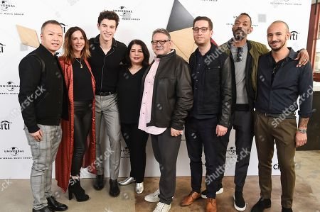 Eric Wong, Jody Gerson, Shawn Mendes, Michele Anthony, Sir Lucian Grainge, Andrew Gertler, Darcus Beese, Ziggy Chareton. Eric Wong, COO of Island Records, from left, Jody Gerson, CEO of Universal Music Publishing Group, Shawn Mendes, Michele Anthony, EVP of Universal Music Group, Sir Lucian Grainge, Chairman & CEO of Universal Music Group, Andrew Gertler, Darcus Beese, President of Island Records and Ziggy Chareton, Svp A&R of Island Records, attend Sir Lucian Grainge's 2019 Artist Showcase Presented by Citi on in Los Angeles