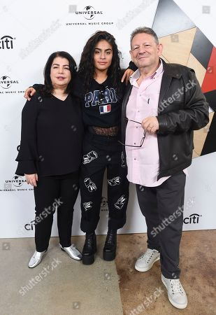 Michele Anthony, Jessie Reyez, Sir Lucian Grainge. Michele Anthony, EVP of Universal Music Group, from left, Jessie Reyez and Sir Lucian Grainge, Chairman & CEO of Universal Music Group, attend Sir Lucian Grainge's 2019 Artist Showcase Presented by Citi on in Los Angeles