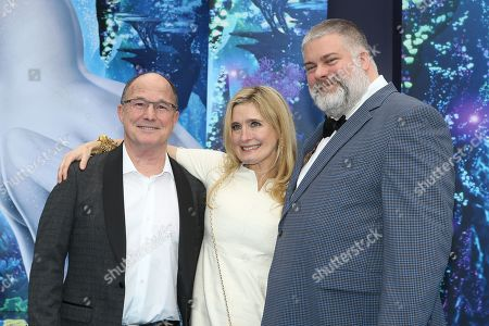 US film producer Bradford Lewis (L), British author Cressida Cowell (C), and Canadian director Dean DeBlois (R) arrive for the premiere of 'How To Train Your Dragon: The Hidden World' in Westwood, Los Angeles, California, USA, 09 February 2019. The movie opens in the USA on 22 February 2019.