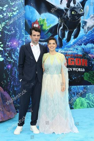 Jay Baruchel (L) and US actress America Ferrera (R) arrive for the premiere of 'How To Train Your Dragon: The Hidden World' in Westwood, Los Angeles, California, USA, 09 February 2019. The movie opens in the USA on 22 February 2019.
