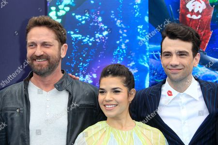 Gerard Butler, US actress America Ferrera, and Canadian actor Jay Baruchel arrive for the premiere of 'How To Train Your Dragon: The Hidden World' in Westwood, Los Angeles, California, USA, 09 February 2019. The movie opens in the USA on 22 February 2019.