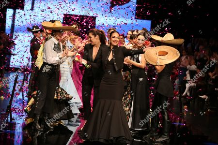 Stock Image of Designer Pilar Rubio and Raquel Revuelta on the catwalk