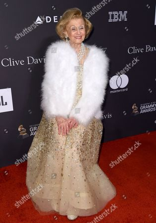 Barbara Davis arrives at the Pre-Grammy Gala And Salute To Industry Icons at the Beverly Hilton Hotel, in Beverly Hills, Calif