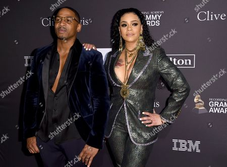 Faith Evans, Stevie J. Faith Evans, right, and Stevie J arrive at the Pre-Grammy Gala And Salute To Industry Icons at the Beverly Hilton Hotel, in Beverly Hills, Calif