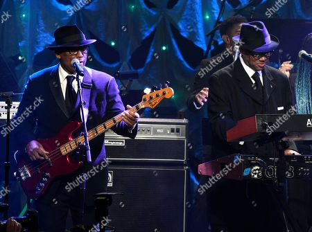 Terry Lewis, Jimmy Jam. Terry Lewis, left, and Jimmy Jam perform at the Pre-Grammy Gala And Salute To Industry Icons at the Beverly Hilton Hotel, in Beverly Hills, Calif