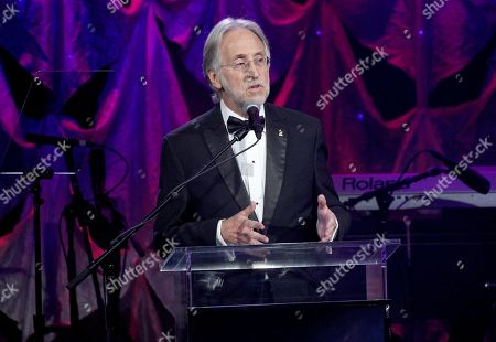 Neil Portnow speaks at the Pre-Grammy Gala And Salute To Industry Icons at the Beverly Hilton Hotel, in Beverly Hills, Calif