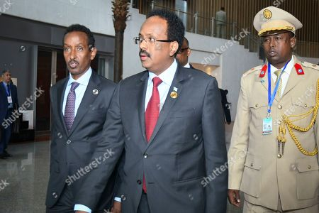 Stock Photo of President of Somalia Mohamed Abdullahi 'Farmajo' Mohamed (C) arrives to attend the 32nd African Union Summit in Addis Ababa, Ethiopia, 10 February 2019. African heads of state and business leaders are gathering in Ethiopian capital 10-11 February under the theme 'Refugees, Returnees and Internally Displaced Persons: Towards Durable Solutions to Forced Displacement in Africa'.