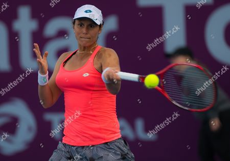 Varvara Lepchenko of the United States in qualifying action at the 2019 Qatar Total Open WTA Premier tennis tournament