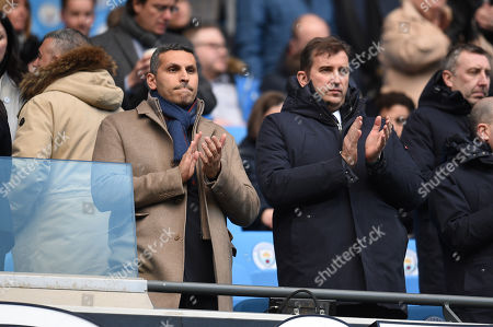 Khaldoon Al Mubarak Chairman of Manchester City takes his seat with Manchester City Chief Executive Ferran Soriano