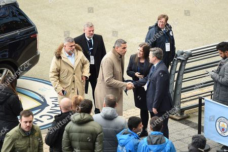 Man City chairman Khaldoon Al-Mubarak arrives at the stadium.