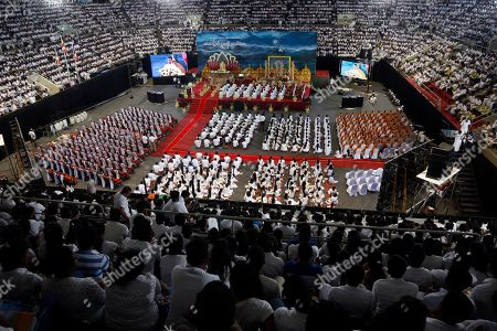 Sri Lankan youth attend an awareness raising event on the futility of blindly following Valentine's day organized by the Mahamevna Bawana Asapuwa, a Buddhist organization at the Sugathadasa Indoor Stadium in Colombo, Sri Lanka, 10 February 2019. An awareness raising meeting with the theme 'Yovun Daham Sakmana' (Religious Journey for the Youth), on blindly following the highly commercialized Valentine?s Day celebrations in the island nation and instead to utilize the day to spread the Buddhist principles of love, affection, blessings on all living things was held prior to the lovers' day which falls on 14 February. Thousands, especially the youth, clergy and laymen from all religions and races island-wide participated at this unique event.