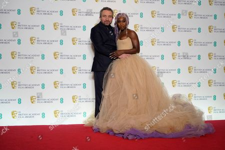 Eddie Marsan (L) and Cynthia Erivo pose in the press room during the 72nd annual British Academy Film Awards at the Royal Albert Hall in London, Britain, 10 February 2019. The ceremony is hosted by the British Academy of Film and Television Arts (BAFTA).