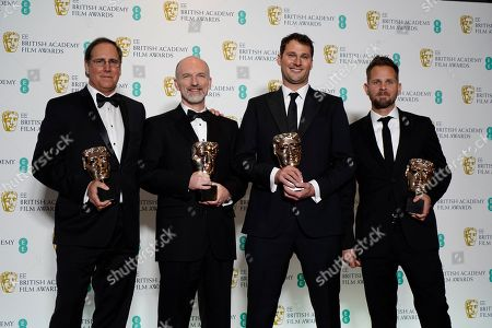 Stock Image of Visual effects artists Dan Sudick, Craig Hammack, Geoffrey Baumann, and Jesse James Chisholm pose with their awards for Special Visual Effects for their work on the film 'Black Panther' pose in the press room during the 72nd annual British Academy Film Awards at the Royal Albert Hall in London, Britain, 10 February 2019. The ceremony is hosted by the British Academy of Film and Television Arts (BAFTA).