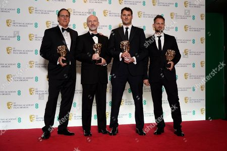 Stock Picture of Visual effects artists Dan Sudick, Craig Hammack, Geoffrey Baumann, and Jesse James Chisholm pose with their awards for Special Visual Effects for their work on the film 'Black Panther' pose in the press room during the 72nd annual British Academy Film Awards at the Royal Albert Hall in London, Britain, 10 February 2019. The ceremony is hosted by the British Academy of Film and Television Arts (BAFTA).