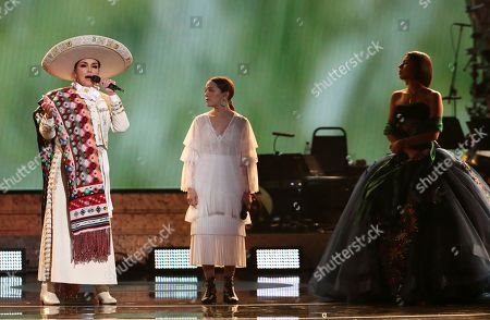 "Aida Cuevas, Natalia Lafourcade, Angela Aguilar. Aida Cuevas, from left, Natalia Lafourcade and Angela Aguilar perform ""La Llorona"" at the 61st annual Grammy Awards, in Los Angeles"