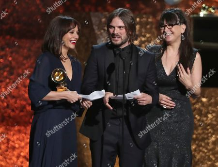 "Rashida Jones, Alan Hicks, Paula DuPre Pesmen. Rashida Jones, from left, Alan Hicks and Paula DuPre Pesmen accept the award for best music film for ""Quincy"" at the 61st annual Grammy Awards, in Los Angeles"