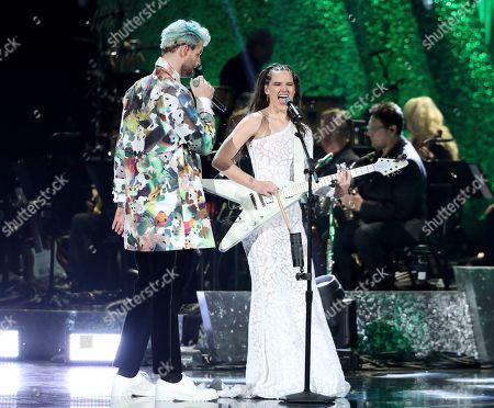 "Sophie Hawley-Weld, Tucker Halpern. Tucker Halpern, left, and Sophie Hawley-Weld of ""Sofi Tukker"" perform at the 61st annual Grammy Awards, in Los Angeles"