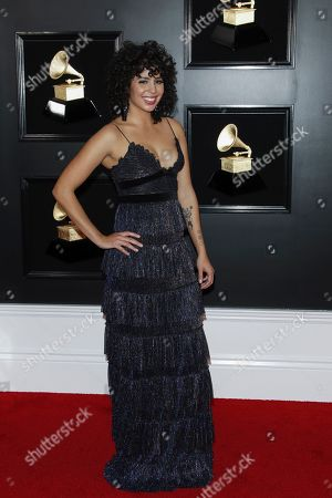 Stock Image of Puerto Rican singer Raquel Sofia arrives for the 61st annual Grammy Awards ceremony at the Staples Center in Los Angeles, California, USA, 10 February 2019.