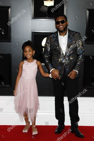 Boi-1da and guest arrive for the 61st annual Grammy Awards ceremony at the Staples Center in Los Angeles, California, USA, 10 February 2019.