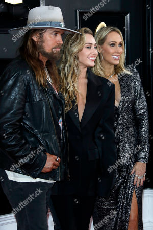 Billy Ray Cyrus, Miley Cyrus and Tish Cyrus arrive for the 61st annual Grammy Awards ceremony at the Staples Center in Los Angeles, California, USA, 10 February 2019.
