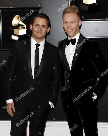Benj Pasek (L) and Justin Paul (R) arrive for the 61st annual Grammy Awards ceremony at the Staples Center in Los Angeles, California, USA, 10 February 2019.