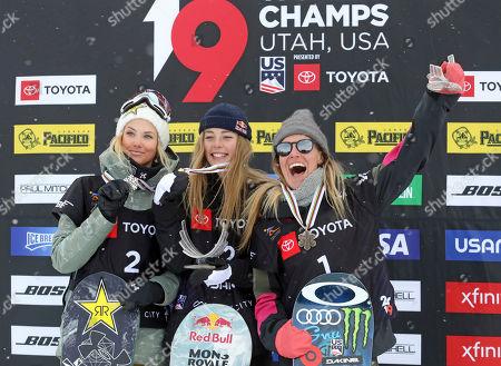 Jamie Anderson, Zoi Sadowski-Synnott, Silje Norendal. First-place finisher Zoi Sadowski-Synnott, center, of New Zealand, celebrates on the podium with second-place finisher Silje Norendal, left, of Norway, and third-place finisher, Jamie Anderson, right, of the United States, following the women's slopestyle snowboard world championship, in Park City, Utah