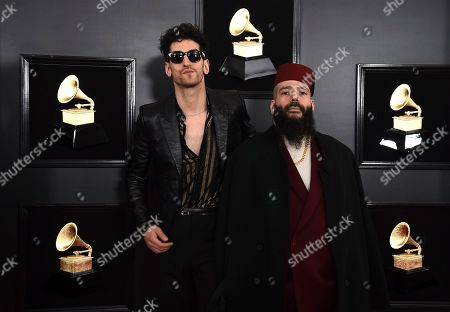 "David Macklovitch, Patrick Gemayel. David Macklovitch, left, and Patrick Gemayel of ""Chromeo"" arrive at the 61st annual Grammy Awards at the Staples Center, in Los Angeles"