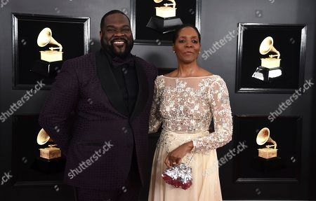 Stock Image of Phillip Boykin, Felicia Richardson Boykin. Phillip Boykin, left, and Felicia Richardson Boykin arrive at the 61st annual Grammy Awards at the Staples Center, in Los Angeles