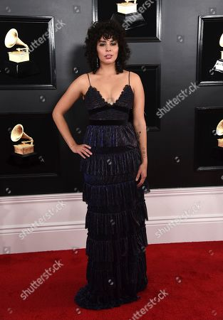 Raquel Sofia arrives at the 61st annual Grammy Awards at the Staples Center, in Los Angeles