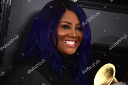 Lalah Hathaway arrives at the 61st annual Grammy Awards at the Staples Center, in Los Angeles