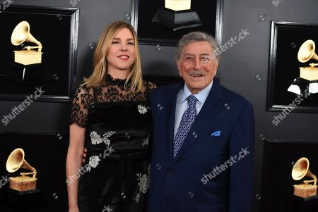 Diana Krall, Tony Bennett. Diana Krall, left, and Tony Bennett arrive at the 61st annual Grammy Awards at the Staples Center, in Los Angeles