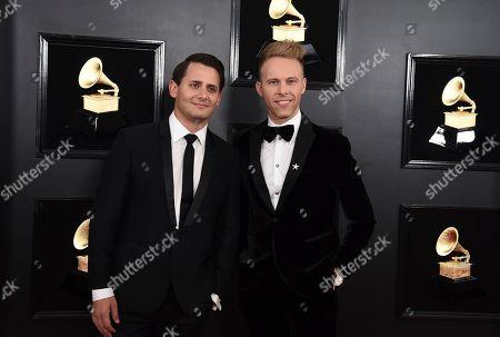 Benj Pasek, Justin Paul. Benj Pasek, left, and Justin Paul arrive at the 61st annual Grammy Awards at the Staples Center, in Los Angeles