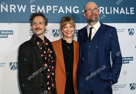 Michael Ostrowski, German actress Heike Makatsch and German film director Philipp Stoelzl attend the North Rhine-Westphalia Film and Media Foundation Party during the 69th annual Berlin Film Festival, in Berlin, Germany, 10 February 2019. The Berlinale runs from 07 to 17 February.