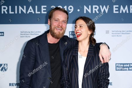 Aylin Tezel (R) and German actor Stefan Konarske (L) attend the North Rhine-Westphalia Film and Media Foundation Party during the 69th annual Berlin Film Festival, in Berlin, Germany, 10 February 2019. The Berlinale runs from 07 to 17 February.