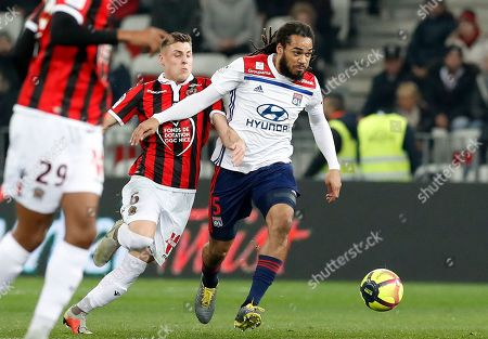 Remi Walter (L) of OGC Nice and Jason Denayer (R) of Olympique Lyon in action during the French Ligue 1 soccer match, OGC Nice vs Olympique Lyon, at the Allianz Riviera stadium, in Nice, France, 10 February 2019.