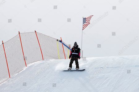 Jamie Anderson of USA, third place finisher comes off course after the Snowboard Slopestyle finals where canceled. The awards are based on qualification times and not race times due to weather related cancelation at Park City Mountain for the FIS World Championships in Park City, Utah, USA, 10 February 2019.
