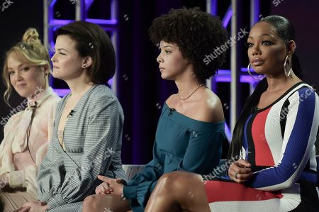 """Stock Picture of Ginnfier Goodwin, Angela Fairley, Tiffany Hines. Ginnfier Goodwin, from left, Angela Fairley and Tiffany Hines participate in the """"Female Directors"""" panel during the Lifetime portion of the TCA Winter Press Tour on Sunday, Feb.10, 2019, in Pasadena, Calif"""