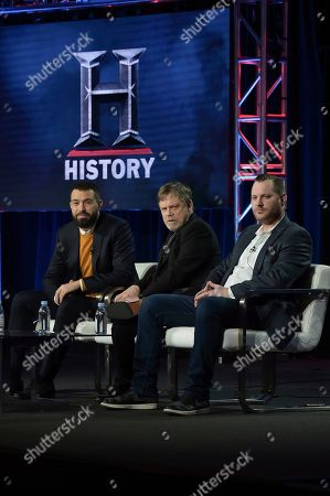 "Tom Cullen, Mark Hamill, Aaron Helbing. Tom Cullen, from left, Mark Hamill and Aaron Helbing participate in the ""Knightfall"" panel during the History portion of the TCA Winter Press Tour on Sunday, Feb.10, 2019, in Pasadena, Calif"