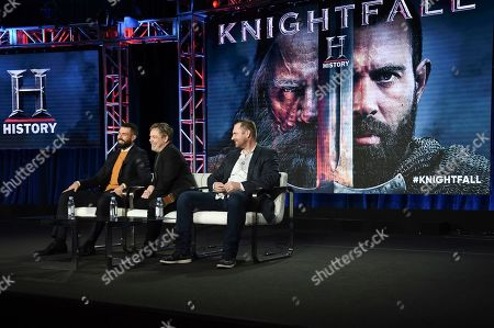 "Stock Photo of Tom Cullen, Mark Hamill, Aaron Helbing. Tom Cullen, from left, Mark Hamill and Aaron Helbing participate in the ""Knightfall"" panel during the History portion of the TCA Winter Press Tour on Sunday, Feb.10, 2019, in Pasadena, Calif"