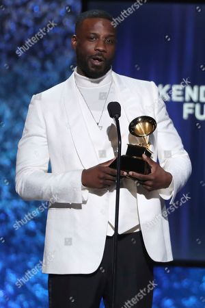 """Stock Image of Jay Rock accepts the award for best rap performance for """"King's Dead"""" at the 61st annual Grammy Awards, in Los Angeles"""