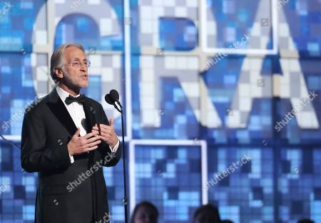 President and CEO of the Recording Academy Neil Portnow speaks at the 61st annual Grammy Awards, in Los Angeles